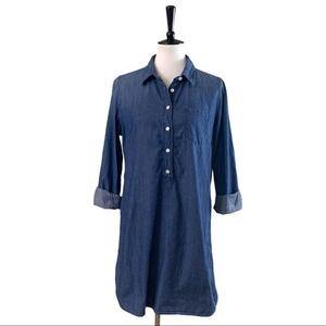 J.Crew • Denim Collared Shirttail Dress • M